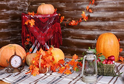 CSFOTO 7x5ft Background for Thanksgiving Day Party Decor Photography Backdrop Autumn Fall Lamp Maple Leaves Napkin Pumpkin Celebrate Holiday Festival Ornament Studio Props Vinyl - Holiday Fold Napkins