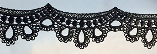 Trim Black Scalloped (2 Yard Lot, Baby Doll Scalloped Lace Rayon Trim, Uses: Sleeves, Tops, Costumes, Black, 2