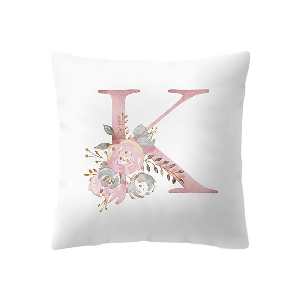 Sagton English Alphabet Print Throw Pillow Covers,Simple Soft Cushion Case with Hidden Zipper, for Sofa Kids Room Bedroom Car Decoration Standard Size 18X18 (K)
