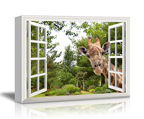 Canvas Print Wall Art - Window Frame Style Wall Decor - A Curious Giraffe Sticking Its Head into an Open Window | Giclee Print Gallery Wrap Modern Home Decor. Stretched & Ready to Hang - 36