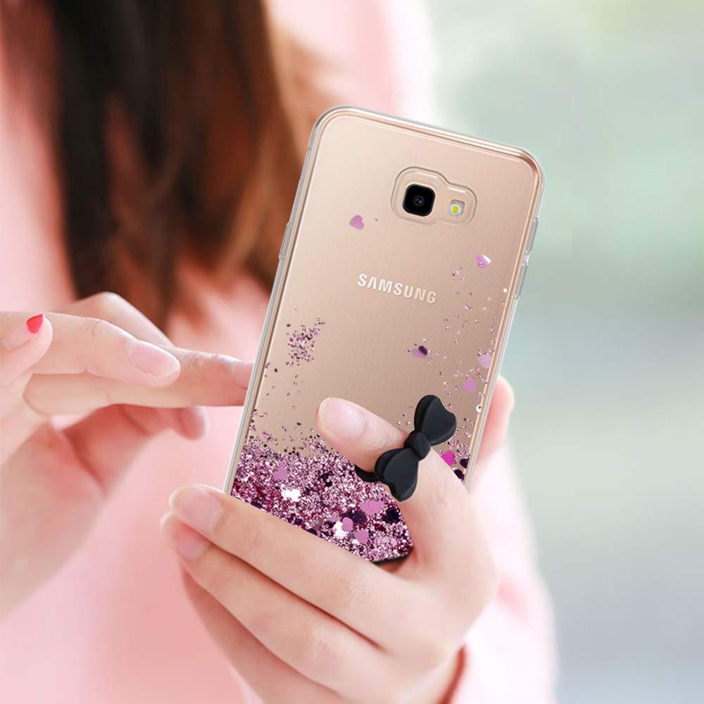 2-Unidades Cristal Vidrio Templado J4 Silicona Purpurina Carcasa con ,Transparente Cristal Bumper Telefono Case Cover para Movil J4 Plus ZX Azul LeYi Compatible with Funda Samsung Galaxy J4 Plus