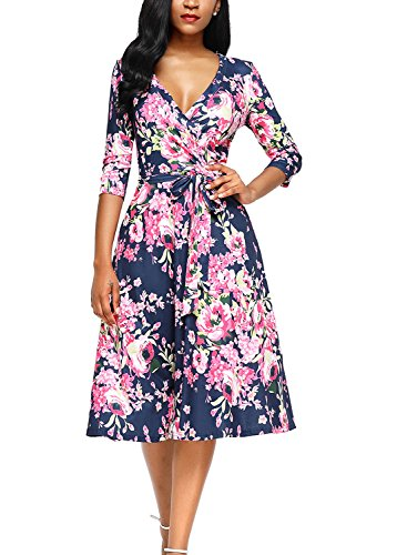Alvaq Women Eleant V Neck Floral Print Midi Dresses Ladies A Line Knee Length Maternity Swing Dress 2017 Casual