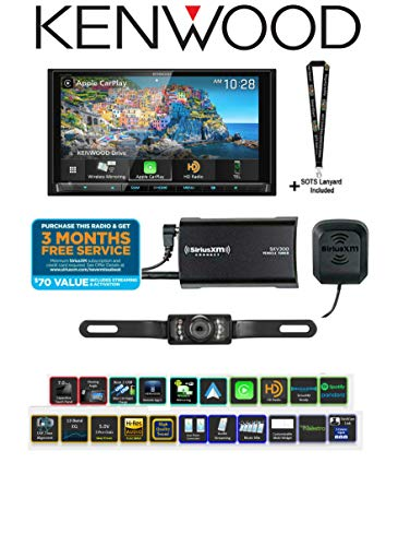 "Kenwood Excelon DDX9906XR 6.8"" DVD Receiver with SiriusXM Satellite Radio Tuner SXV300V1 & License Plate Style Backup Camera Bundle with Sound of Tri-State Lanyard"