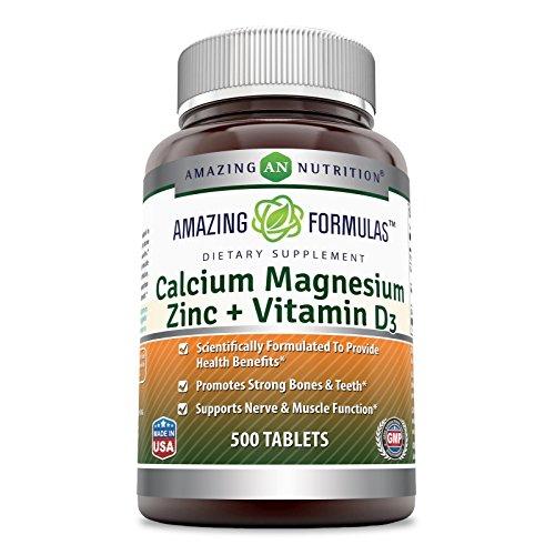 Amazing Nutrition Calcium Magnesium Zinc + Vitamin D3 500 Tablets (500 Tablets)