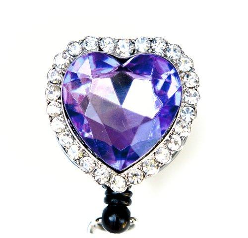 Colorful Diamond Heart Rhinestone Retractable Badge Reel / ID Badge Holder (Purple)