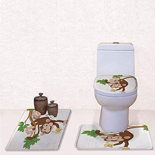 Print 3 Pcss Bathroom Rug Set Contour Mat Toilet Seat Cover,Funny Monkey Hanging from Tree with Banana Jungle Animals Theme Mascot Print Decorative with Chocolate White,decorate bathroom,entrance d