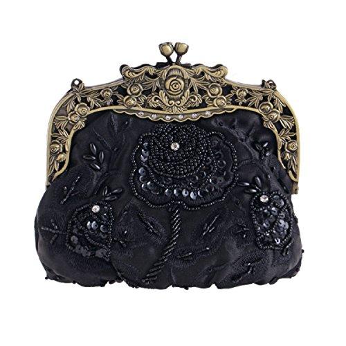 GSHGA Bolsos De Noche Retros Bolso De Embrague De Seda Del Bolso Del Hombro Del Bordado De Los Bolsos Nupciales,Gold Black