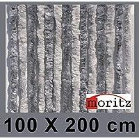 Moritz® Chenille Flauschvorhang Fliegenschutz 100 x 200 cm NEU 24 Stränge (hellgrau / grau)