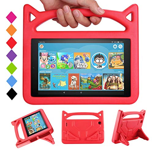 SHREBORN F i r e 7 Tablet Case,All-New F i r e 7 2017 Case,F i r e 7 Kids Case - Kids Shock Proof Protective Cover Case for Tablet (Compatible with 5th Generation 2015/7th Generation 2017) - Red