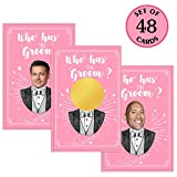 MORDUN Bridal Shower Games - Who Has the Groom Scratch off Cards for 48 Guests - Funny Bachelorette Party Games Ideas
