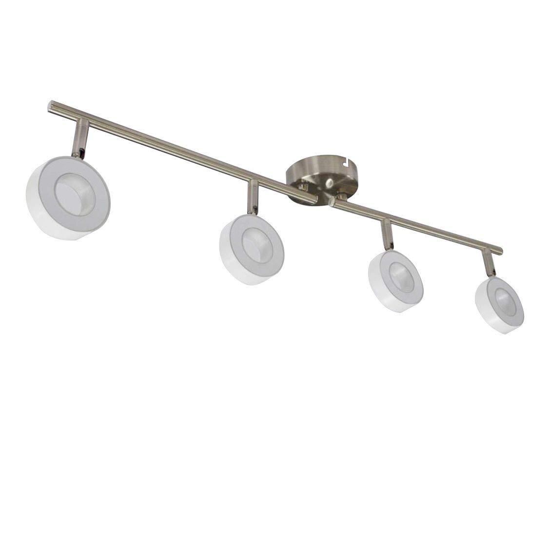 LED Ceiling Spotlights for Kitchen, Eye-Care Ceiling Spot Lights Bar for Bedroom Modern Chrome Rotatable Display Lighting 4 x 3 W GU10 Bulbs Warm White [Energy Class A++] [Energy Class A++] W-LITE
