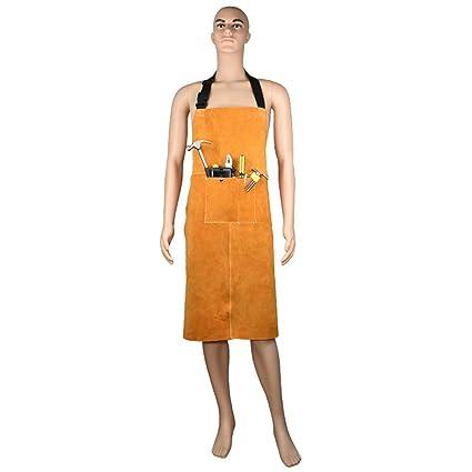 Delantal de soldadura de cuero resistente al calor con correas ajustables, apto para hombres y