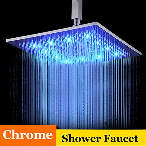 Bestyunyu 16 Inch Bathroom Shower Faucet Chrome Nickel Solid Brass LED Head Square Shower Shower Head Chrome