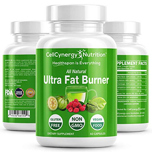 All Natural Weight Loss Fat Burners for Women & Men - Garcinia Cambogia, Green Tea – Fat Burner, Appetite Suppressant, Boost Metabolism - Green Coffee Bean - Non-GMO CellCynergy 60 Veggie Capsules by CellCynergy Nutrition