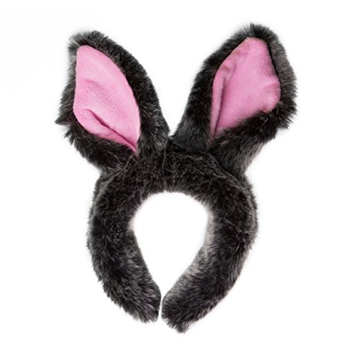 Life-like Gray Rabbit Ears Headband Accessory for Bunny Cosplay, Rabbit Costume, Pretend Animal Play or Easter Party (Couple Themed Halloween Costumes)