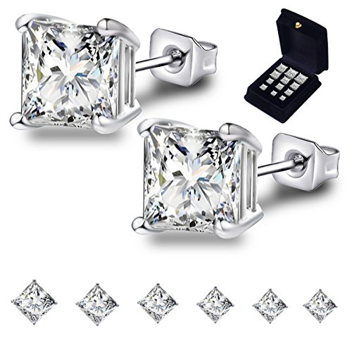Anni Coco 18k White Gold Plated Stainless Steel Square Princess Cut Clear Cubic Zirconia Stud Earrings Set, 3mm-8mm 6 Pairs