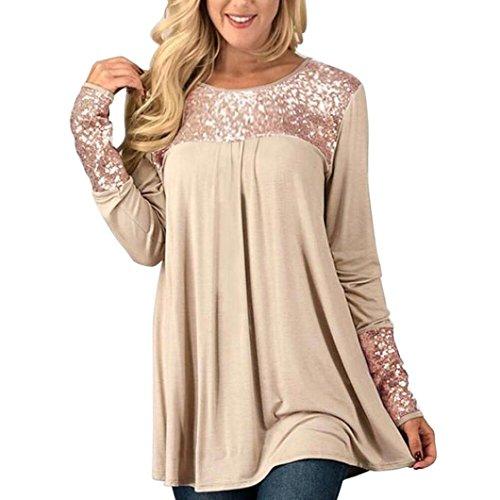 Goddessvan Women's Tops Long Sleeve Sequins O-Neck Casual Tunic Blouse Shirt Pullover (2XL, Beige)