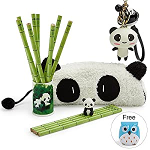 Flee Panda Bamboo Pencil Set of 12 and One Sharpener One Earser One Cute Panda Keychain Pendant with Bells for School Kids Girls Gifts
