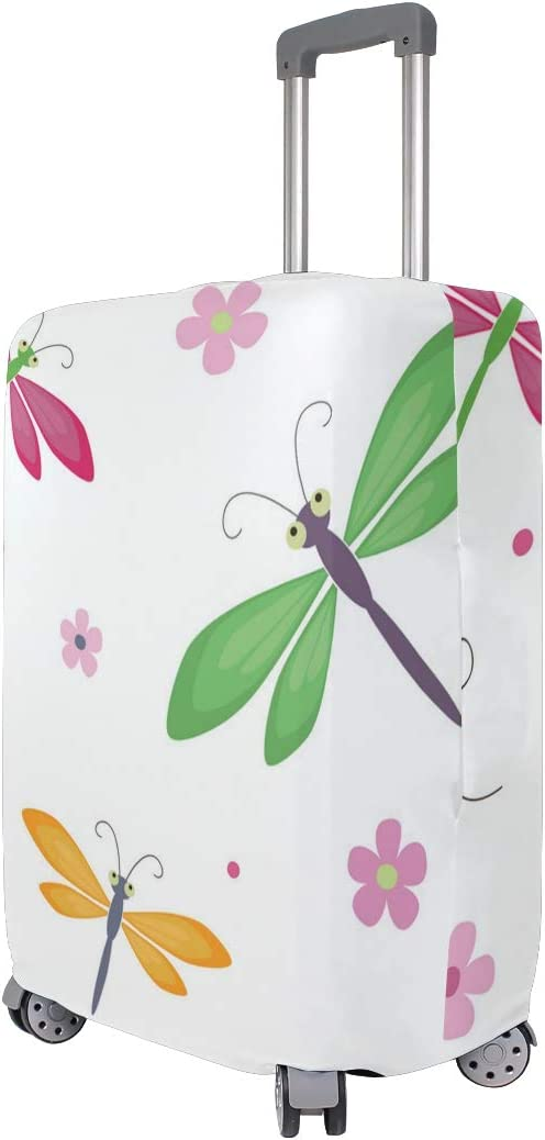 Dragonfly Solar Lights Floral Travel Luggage Protector Case Suitcase Protector For Man/&Woman Fits 18-32 Inch Luggage