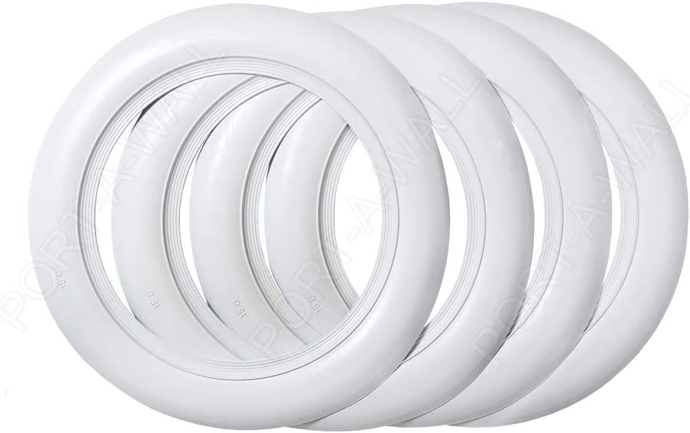 Port-a-wall 15 inch Rims 3 inch Whitewall Portawall Topper Rubber Tire Ring Set of 4 Pcs