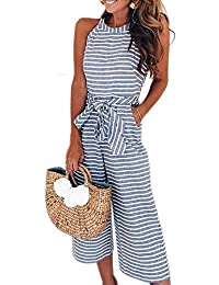 458517b4628 2019 Women s Striped Sleeveless Waist Belted Zipper Back Wide Leg Loose Jumpsuit  Romper with Pockets