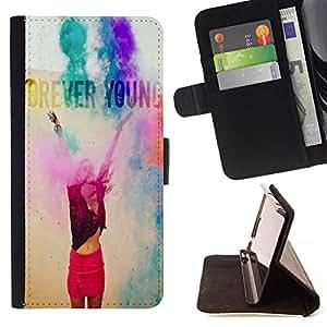 Dragon Case- Caja de la carpeta del caso en folio de cuero del tir¨®n de la cubierta protectora Shell FOR Samsung Galaxy S5 Mini SG870a, SM-G800- Forever Young