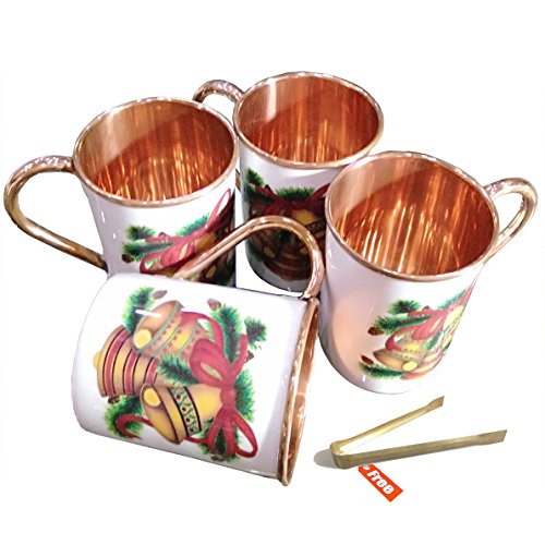 (Prisha India Craft Marry Christmas Hand Painted Designer Copper Mugs Gift for Christmas, Pure Copper Moscow Mule Mugs   17 Ounce   Set of 4)
