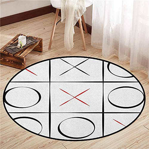 Round Carpets,Xo,Tic Tac Toe Simplistic Pattern Vertical Horizontal Lines Illustration,Ideal Gift for Children,3'7