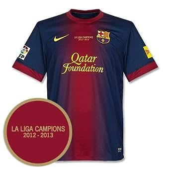 12-13 Barcelona Home Jersey + La Liga Champions Transfer - S
