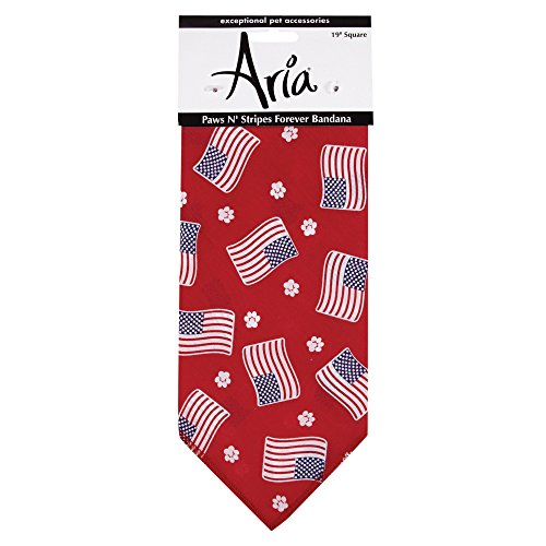 Aria Paws N' Stripes Forever Bandanas for Dogs, Red