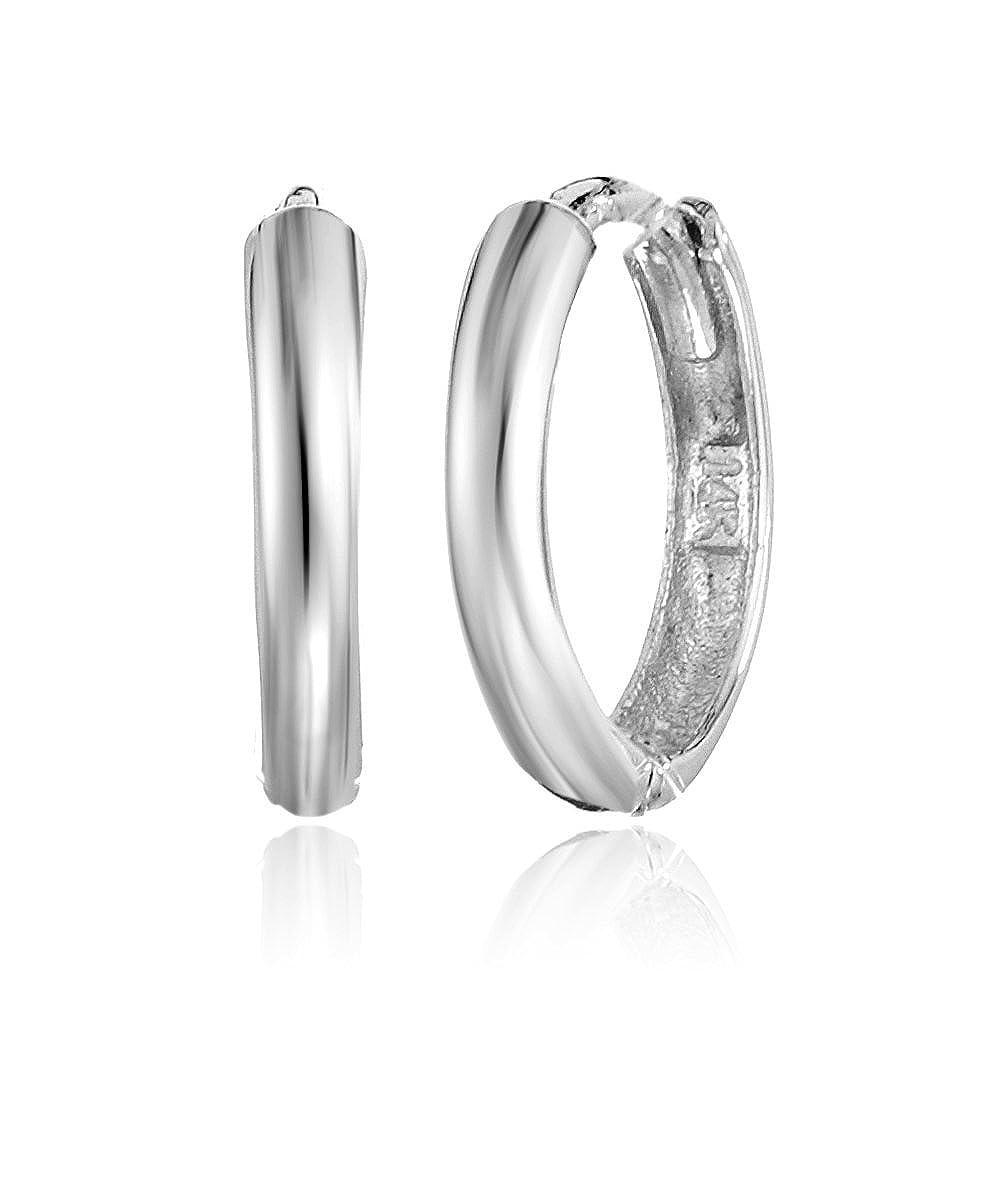 31dfec3e7 Amazon.com: Girls' 14k White Gold Huggie Hoop Earrings: Jewelry