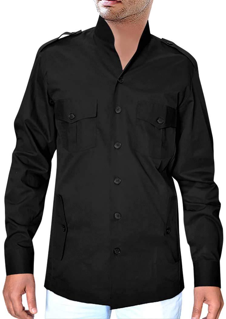INMONARCH Boy SscoutUniform Black Zoo KeeperShirt Long Sleeved Bush Shirt HS116XX-LARGE XX-Large Black by INMONARCH