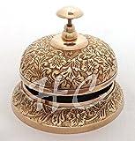 Solid Brass Ornate Hotel Counter Desk Bell Vintage Engraved Service Call Bells