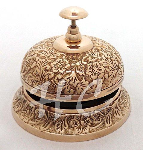 Solid Brass Ornate Hotel Counter Desk Bell Vintage Engraved Service Call Bells (Vintage Ornate Brass)