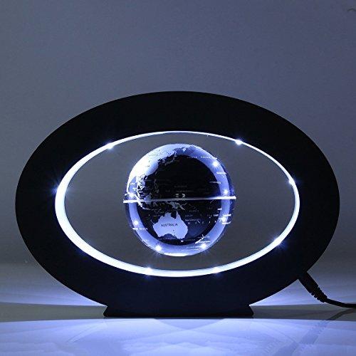FUZADEL Floating Globes Levitating Globes Levitation Floating Globe Rotating Magnetic World Map Colorful LED Lamp