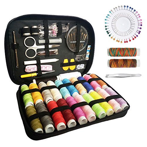 Sewing Kit - Over 133 Premium Sewing Supplies - Includes 24 Spools of Thread and 1 Pack of SewingNeedles (Count 30), Practical Mini Travel Sewing Kit, Beginners Sewing Kit, Emergency Sewing Kit