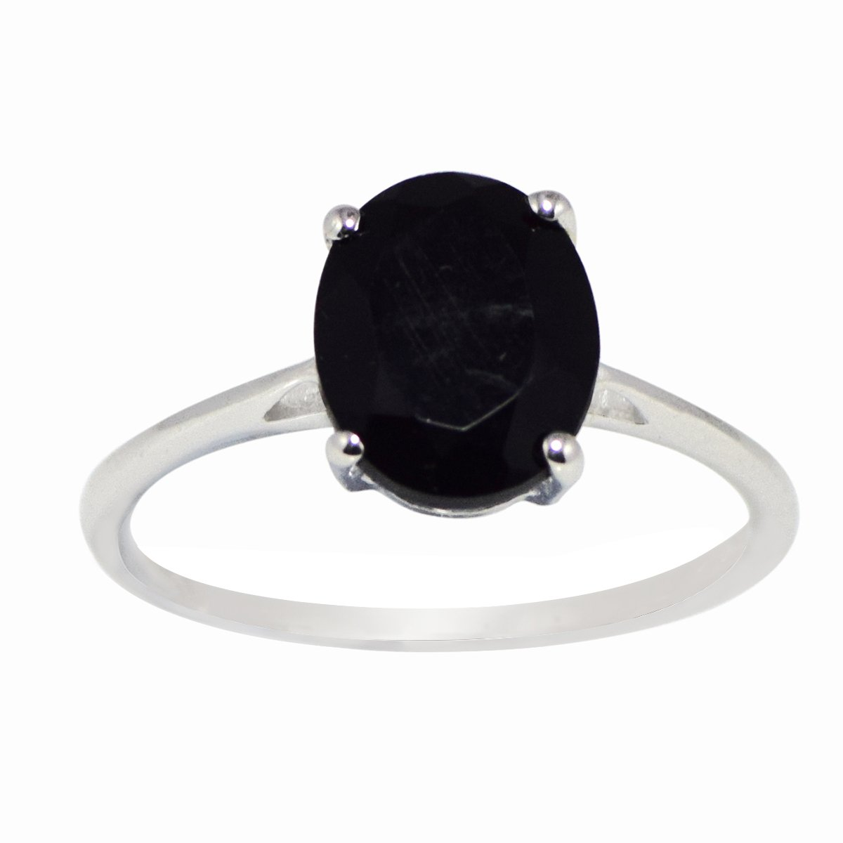 Party wear black onyx gemstone 925 silver ring for girl