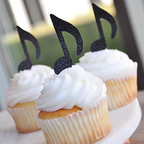 Music-Party-Decor-Rock-Star-Party-Music-Note-Cupcake-Toppers-12CT