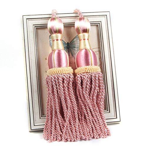 XDH-RTS Modern Curtains Rope Tassel Tiebacks Hanging Balls Belts Soft Fringe Pendant 2 Pcs Curtain Clips Buckles