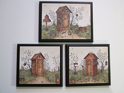(Ozark Mountain Homestead Outhouse Bathroom Plaques, His & Hers, 3 Piece Set, Rustic Country Outhouses, Primitive Lodge Style Bath Signs)