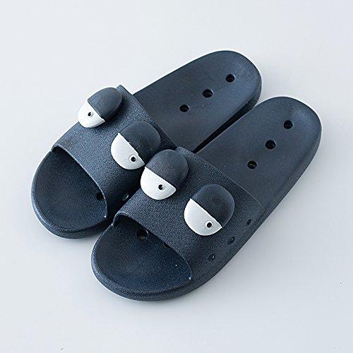 higiénico C antideslizante 42 suave con verano nbsp;Zapatillas baño parejas fondo verano creativa femenina Fankou personalidad azul plano oscuro cool 41 interior fwT6nxRB