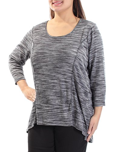 Style & Co. Womens Plus Scoop Neck 3/4 Sleeves Casual Top Black 1X (Tunic Spandex . & Style Co)