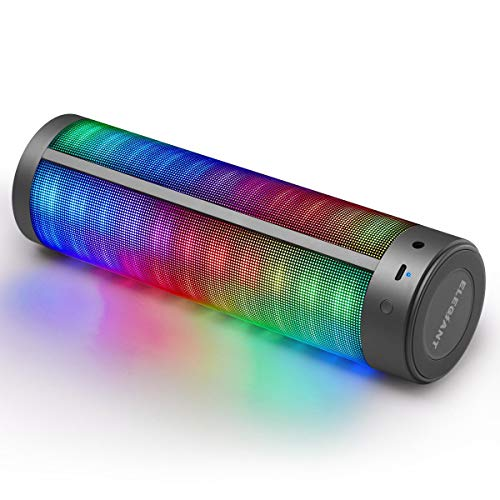 Bluetooth Speaker with Night, ELEGIANT LED 16W Wireless Portable Speaker with Enhanced Bass HD Sound Stereo Hi-Fi Built -in Mic Support AUX for iPhone X 8 7 6S Plus, Samsung, Nexus for Party, Travel by ELEGIANT