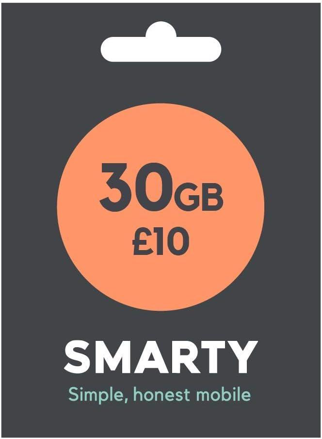 SMARTY SIM desde sólo 6 £ por 1 GB o 30 GB por £10, llamadas y mensajes ilimitados incluidos: Amazon.es: Electrónica