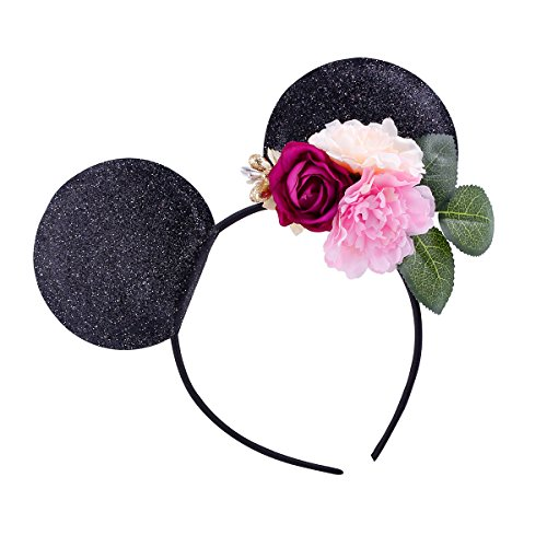 Lovefairy Lovely Mickey Mouse Ears Flowers Headband Hoop Hair Accessories for Birthday Party Travel Festivals (Black #2)]()