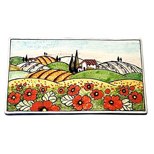 CERAMICHE D'ARTE PARRINI - Italian Ceramic Art Tile Pantiles Pottery Landscape Poppies Hand Painted Made in ITALY Tuscan