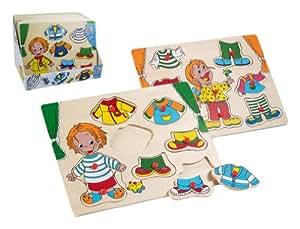 Happy People 60306 - Puzzle encajable de madera, modelo niños y ropa