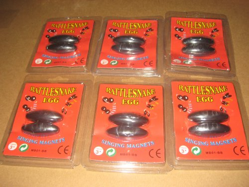 Buzzing Magnets (Set of 12 Magnetic Rattle Snake Eggs. 6 Packs with 2 In each Pack)