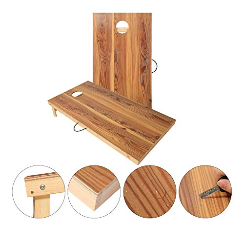 Official Bag Toss Game (OOFIT Solid Wood Premium 4 by 2 feet Official Size Cornhole Game Set with Vintage, Durable Printed Surface and Underneath, Portable Regulation CornHole Bean Bag Toss Game)