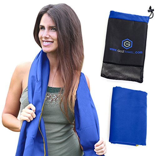 Microfiber Sports & Beach Towel | Size XL [Blue] | Best for Travel, Gym, Fitness, Camping, Yoga | Antibacterial, Quick Dry, Super Absorbent, Light Compact Pack | Includes FREE Bag | Get Toweled NOW!
